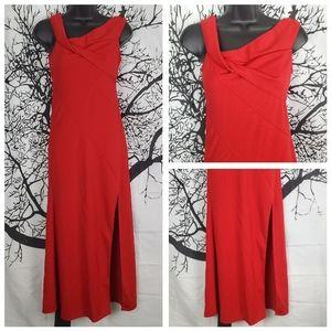 Floor Length Red Dress Twist Neck Maxi Duo Slit